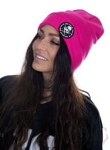 Rebel For Life Fold Beanie, Rosa