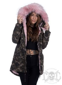Sixth June Camo Parka with Pink fur