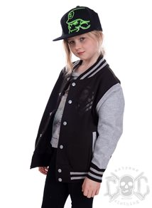 eXc New Skull Kids Varsity Jacket, Black/Grey